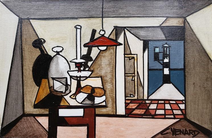 Claude Venard, Fromage sous cloche, série 'Les précieuses', Peinture sur toile
