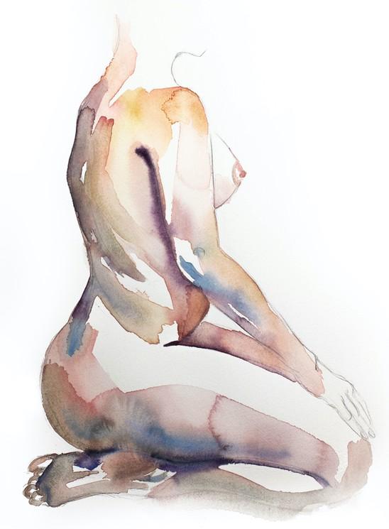 watercolor print Knee bleed