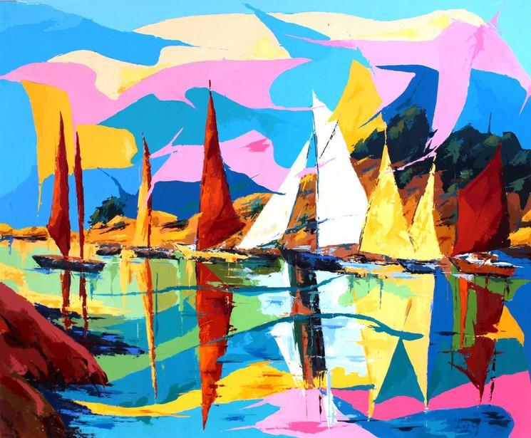 Voiles Au Port Par Jean Luc Lopez 2020 Peinture Artsper 922695