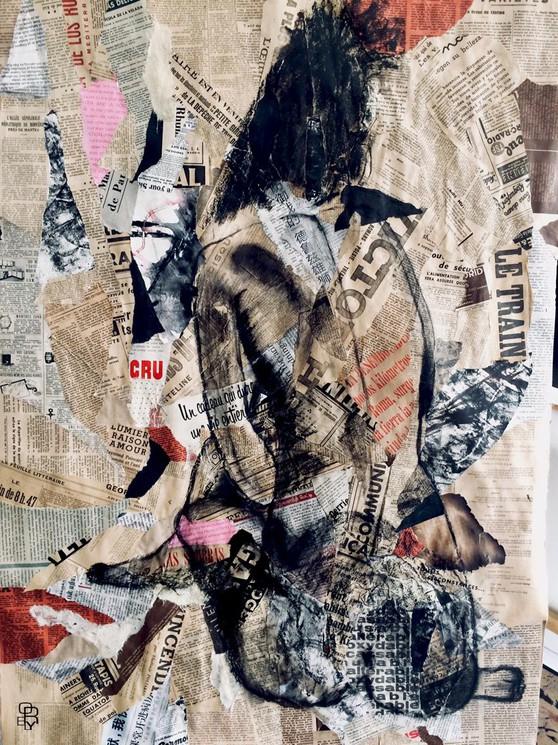 Nu Feminin Au Fusain Sur Papier Journal Par Aurelie Lafourcade 2020 Peinture Artsper 949710