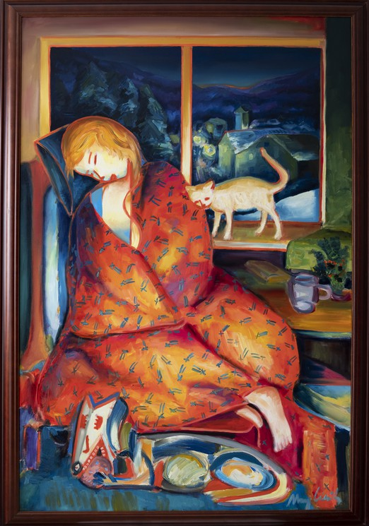 Winter Melancholy A Girl Under A Blanket A Dog And A Cat By Maciej Ciesla 2020 Painting Artsper 975456